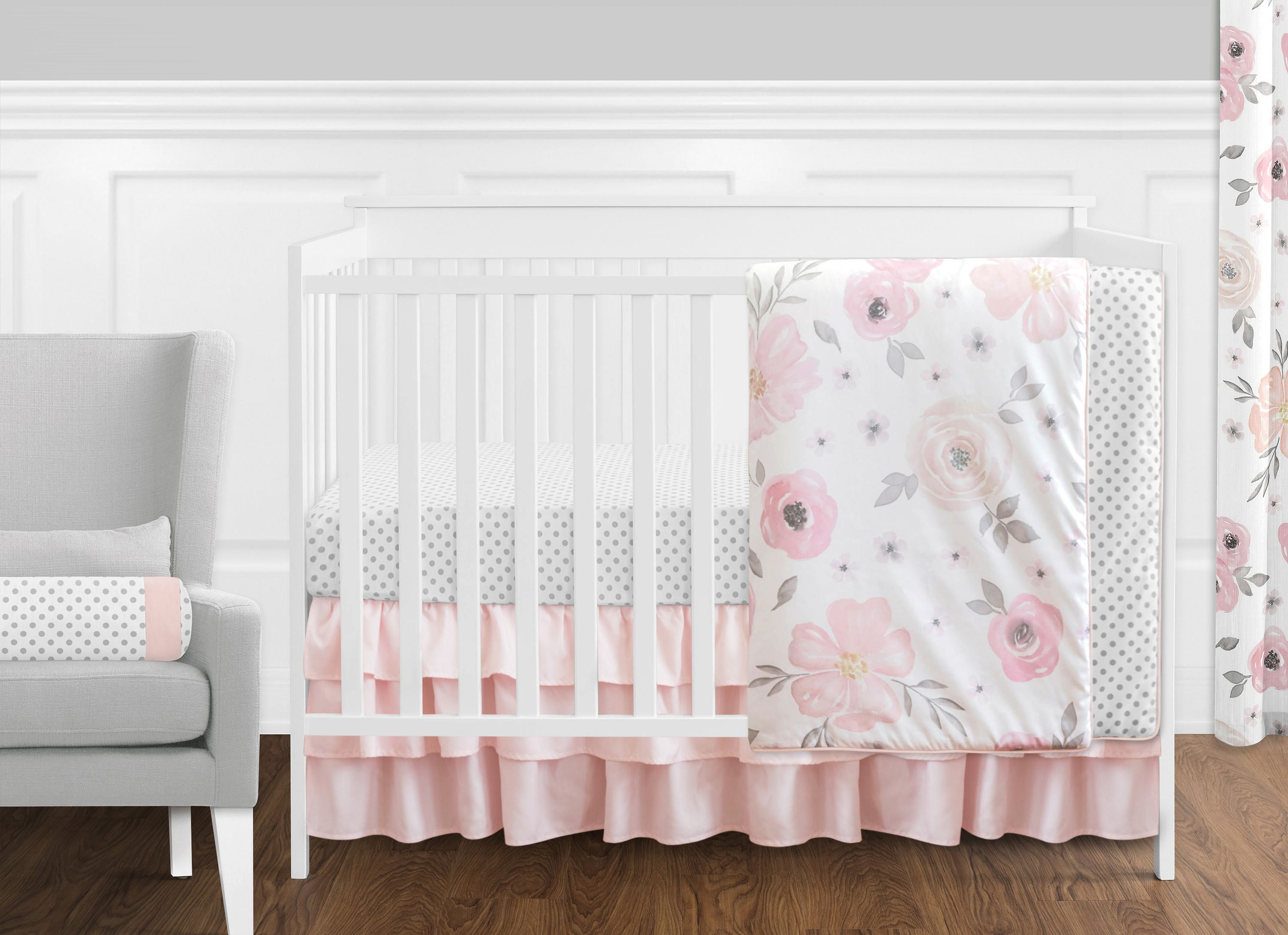 charleigh bumperless pin navy crib s cribs floral bedding coral girl baby sheets