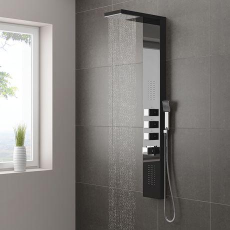 milan modern black mirror tower shower panel