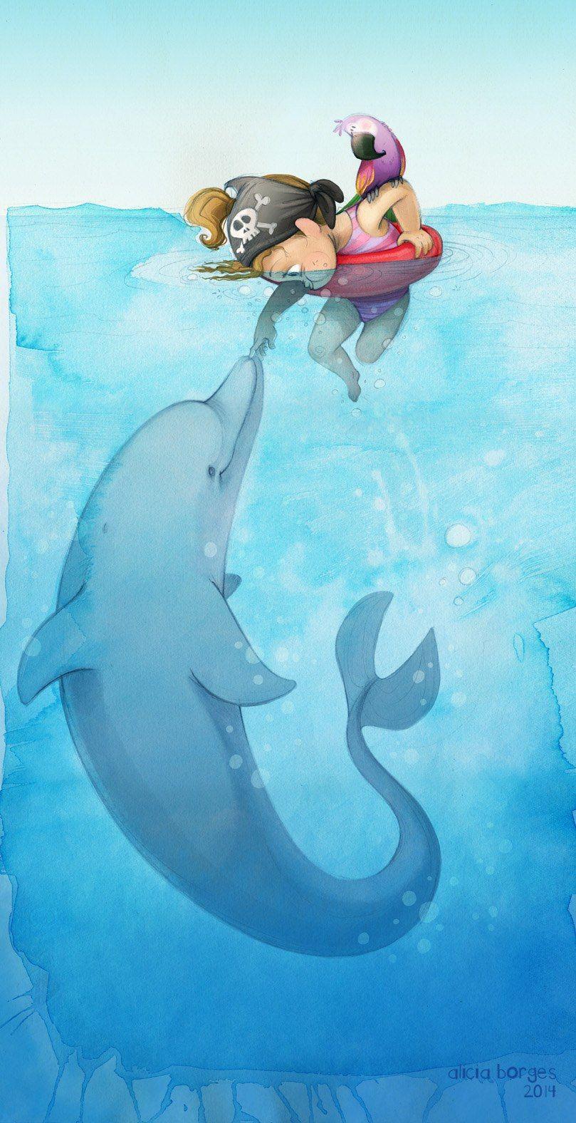 Постер в детскую Девочка и дельфин. Море. Детский постер ...
