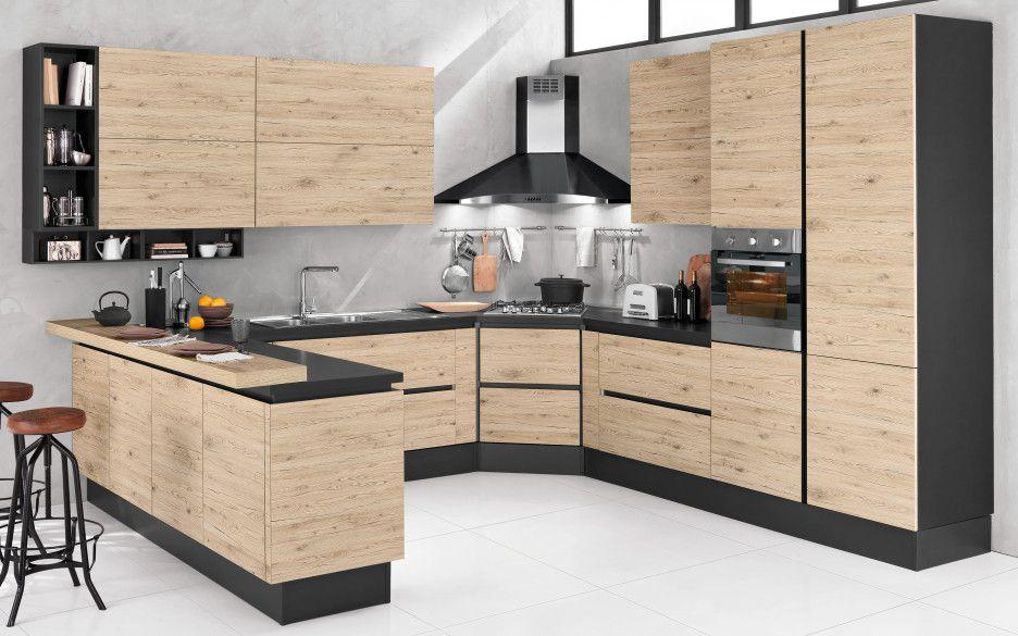 Cucina componibile ghisa effetto quercia chiaro middle fhj