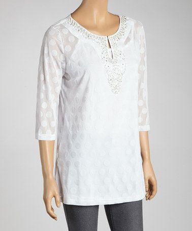 Take a look at this White Polka Dot Embellished Tunic by Zashi on #zulily today!