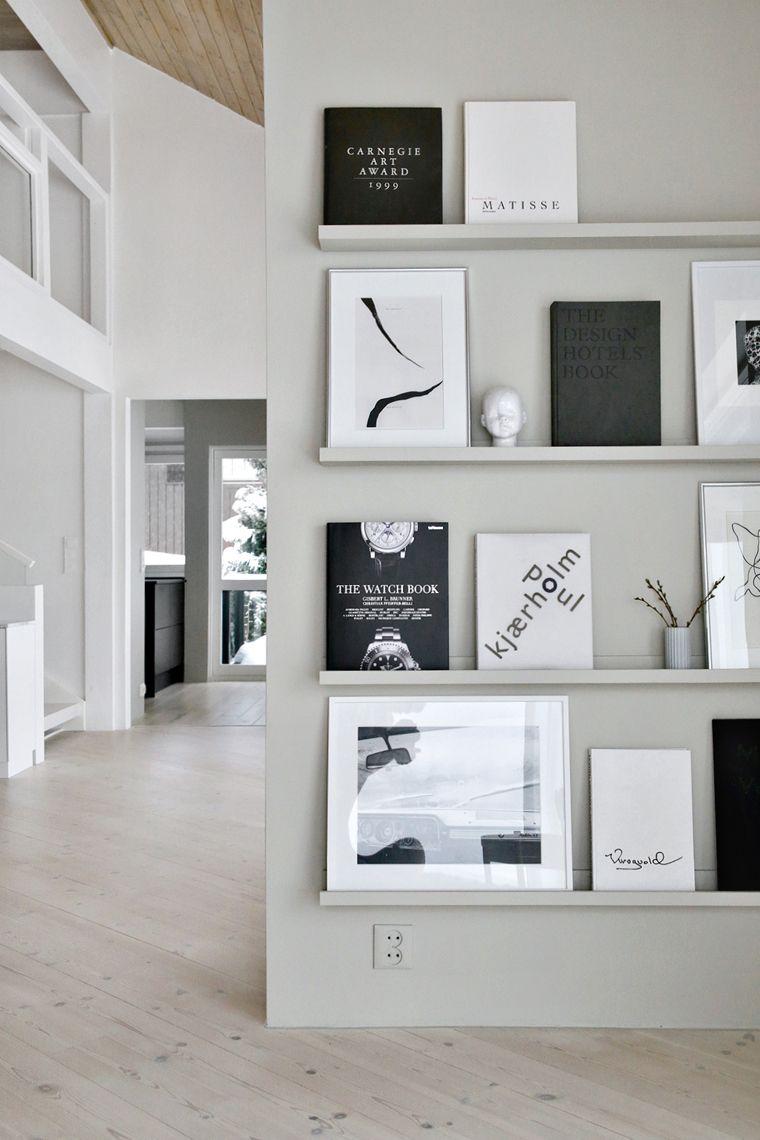 Gallery wall using photo ledges | インテリア・収納 | Pinterest ...