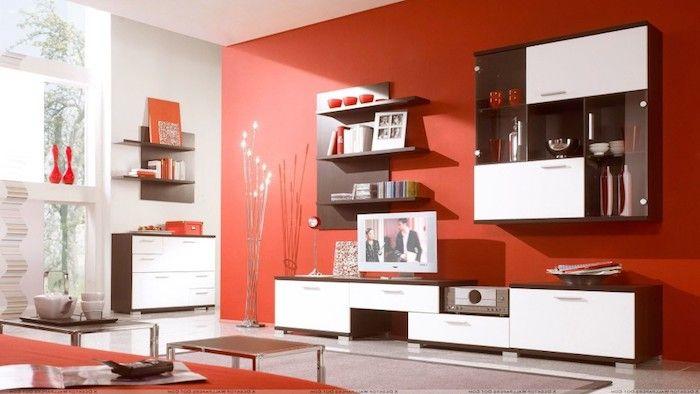Schrankwand Rote Wand Wandgestaltung Rot Und Weiß Kombinieren Kreatives  Lampendesign Schöne Stehlampe