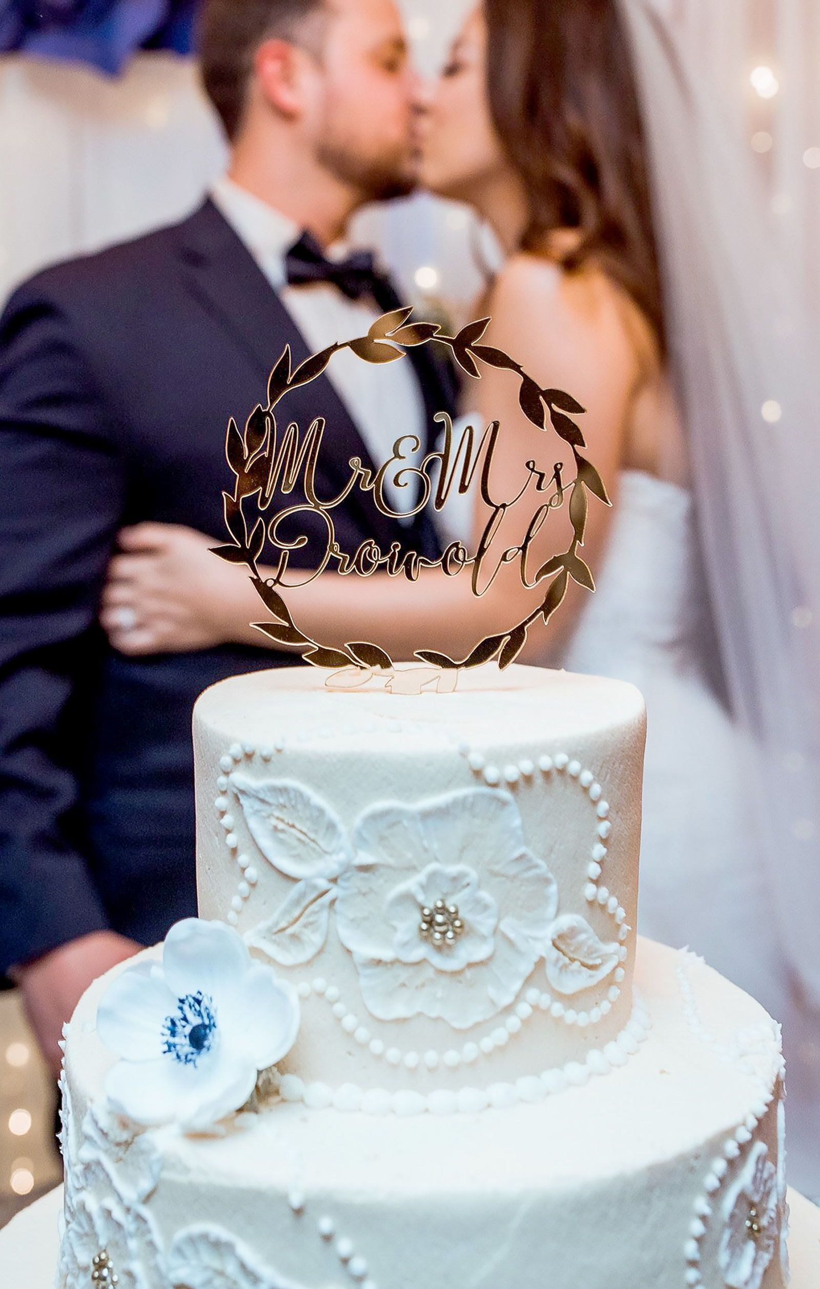 Gold wedding cake topper personalized names laurel wreath in gold