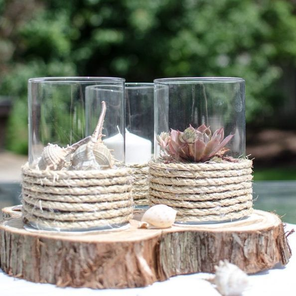 DIY Pottery Barn Inspired Rope Wrapped Hurricanes