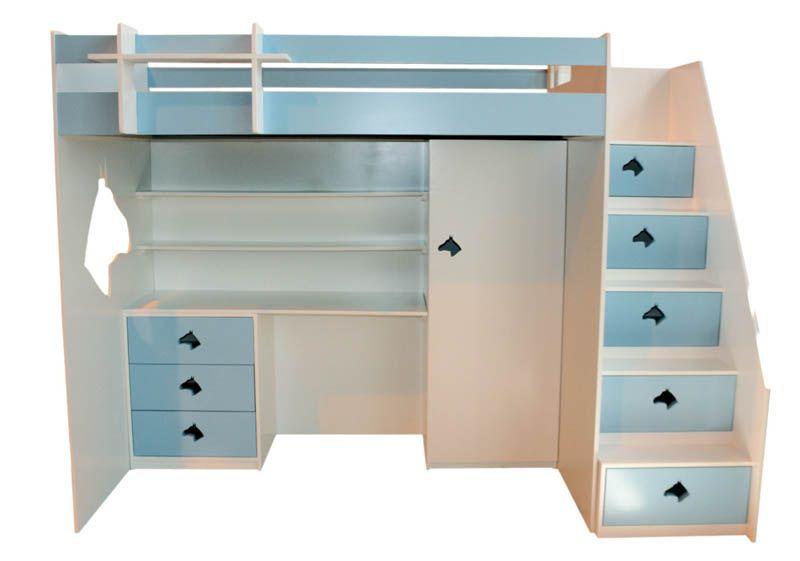 Best Pony Loft Bed With Single Top Bed Desk Storage Draws 400 x 300