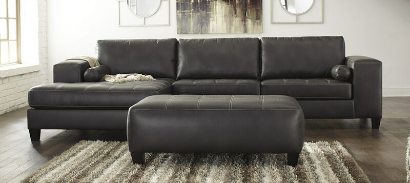 Ashley Furniture 87701 16 67 08 3 Pc Nokomis Charcoal Faux Leather Sectional Sofa Set And Ottoman In 2020 Leather Sectional Sofa Sectional Sofa Leather Sectional