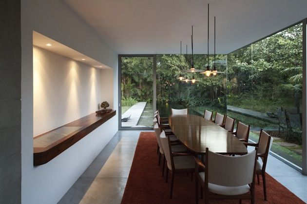 Architecture, Elegant Yucatan House In Sao Paolo, Brazil By Isay Weinfeld  Featuring Interior Design With Wooden Dining Table, Concrete Floor And  Carpet: ...