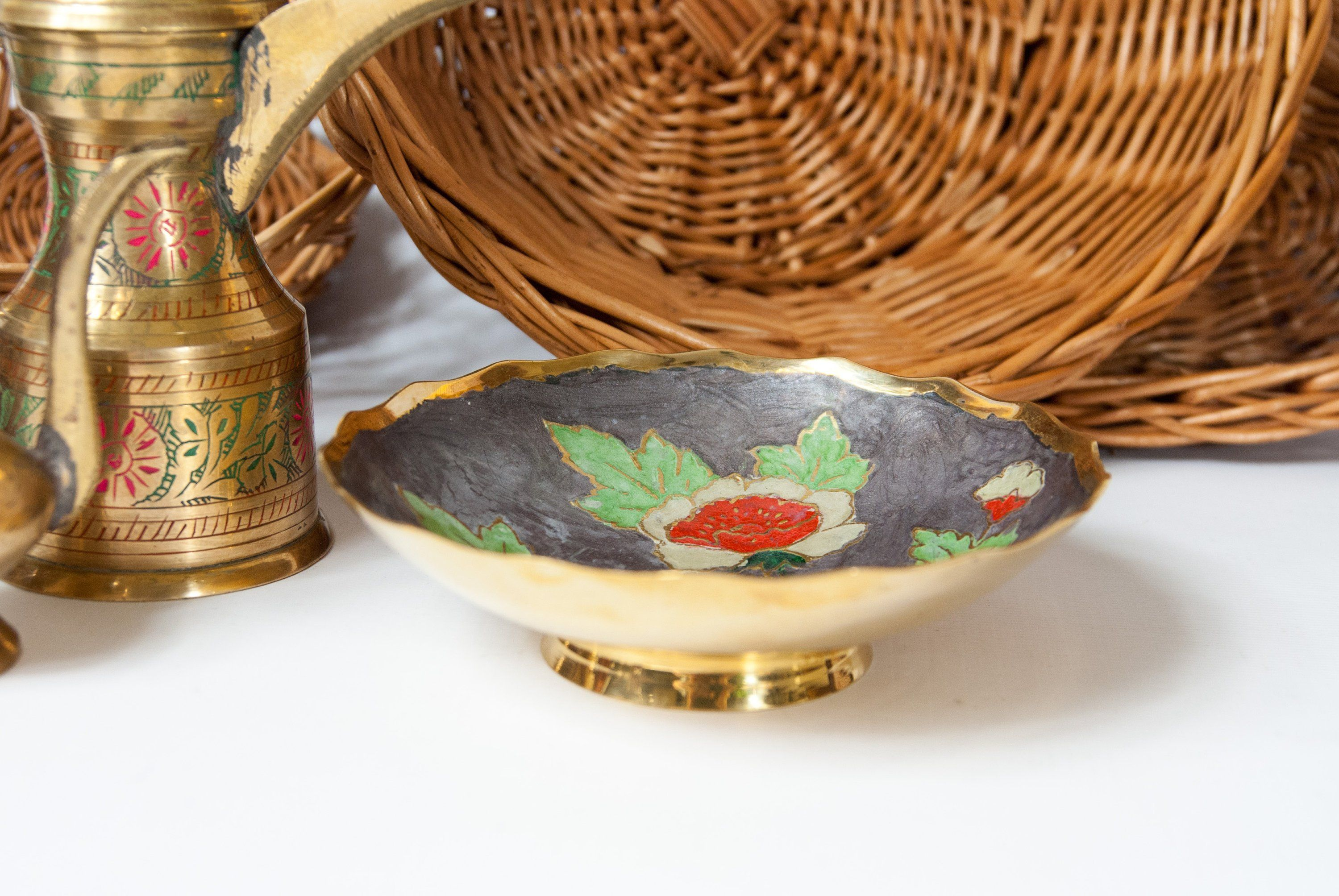 India Br Bowl Decorative For Keys Small Fruit Golden Footed Ring Holder Dish Plate Hand Painted By
