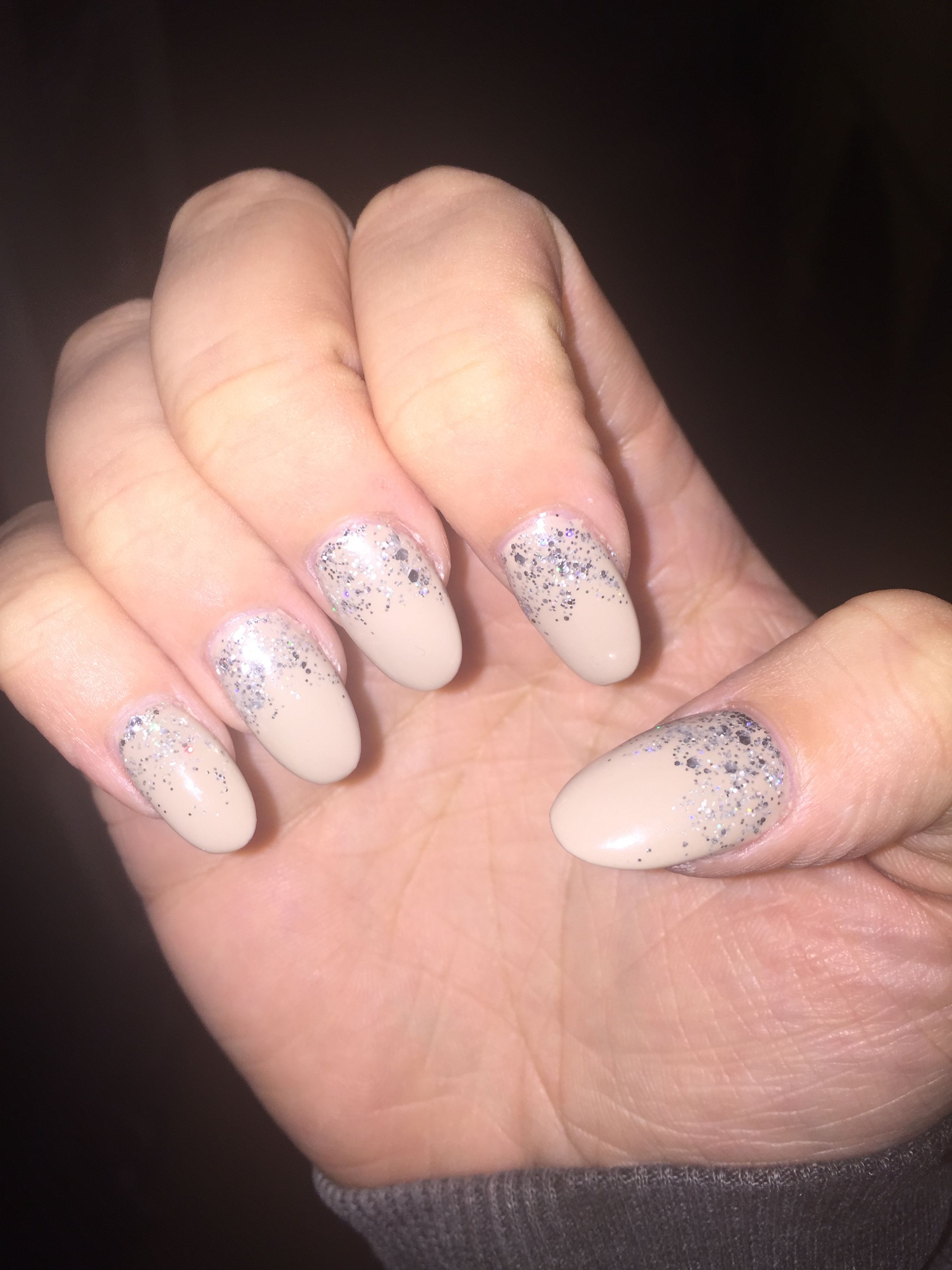 Nude almond gel nails with silver glitter accent. Luxe Nail Bar of ...