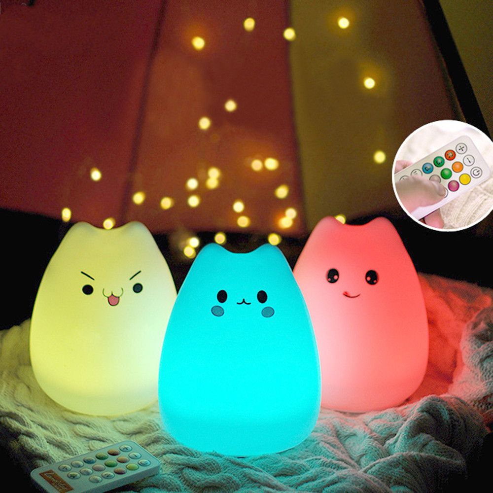 Rechargeable Silicone 7 Colorful Cute Cat Animal Usb Led Night Light Lamp Remote Control