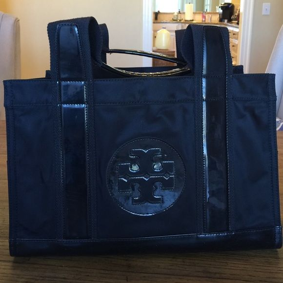 "Tory Burch Ella many tote black Very good condition Tory Burch Ella tote. 13x9x5. Strap drop is 6.5"" Black patent leather with Tory Logo. Super bowls are in great condition and are gold. Tory Burch Bags Totes"