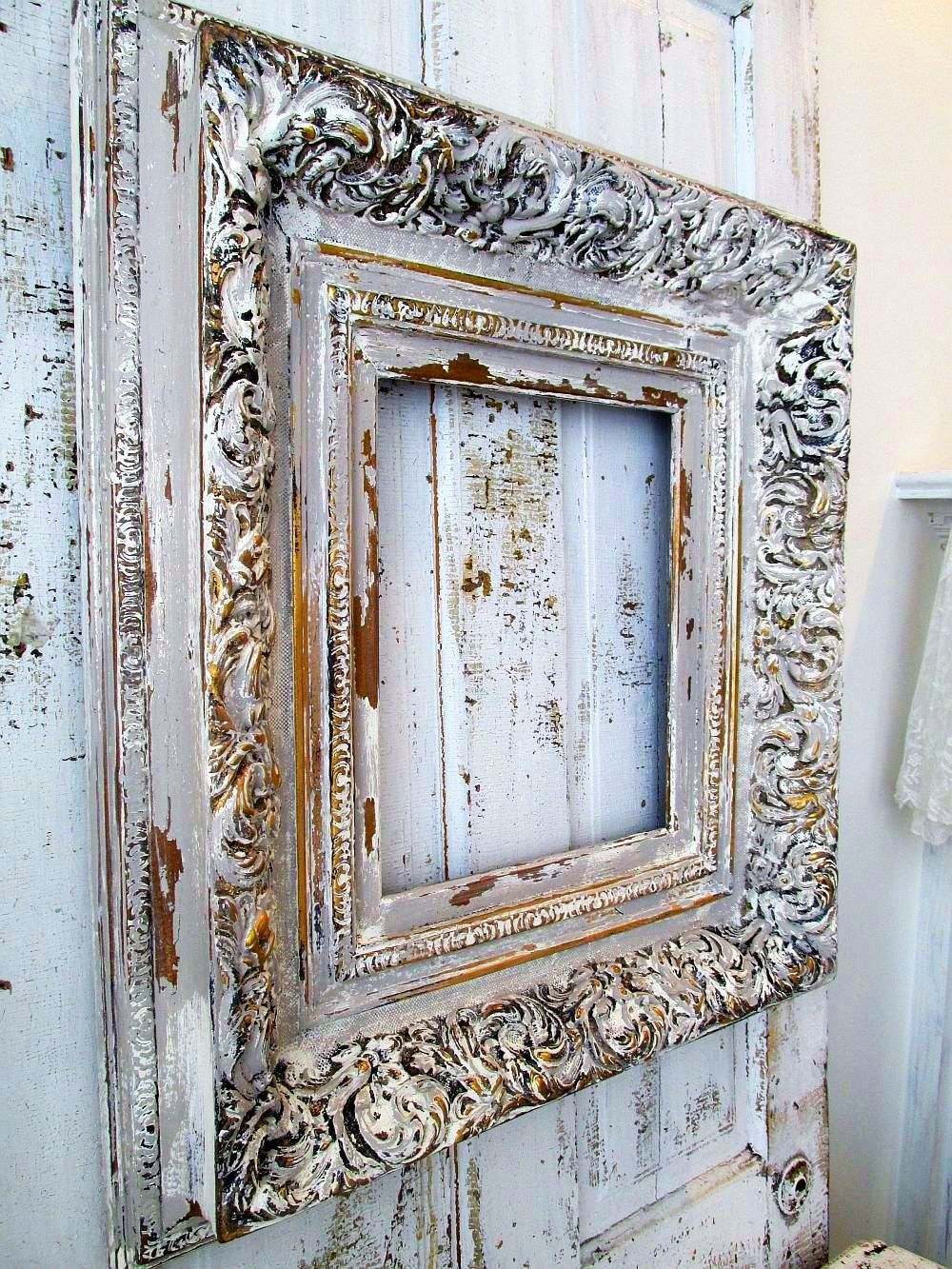 Large ornate frame painted gray w/ white French farmhouse distressed ...