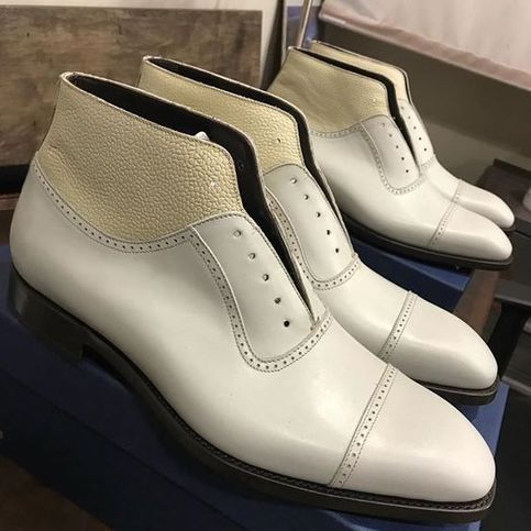 mens new handmade ankle high white boots formal casual