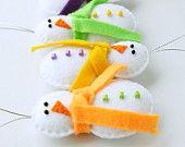 Ornement de Noël bonhomme de neige, Home Decor, ensemble de 4 morceaux de feutre