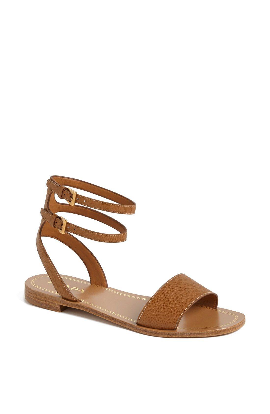 dac3a78da Prada Double Ankle Strap Flat Sandal