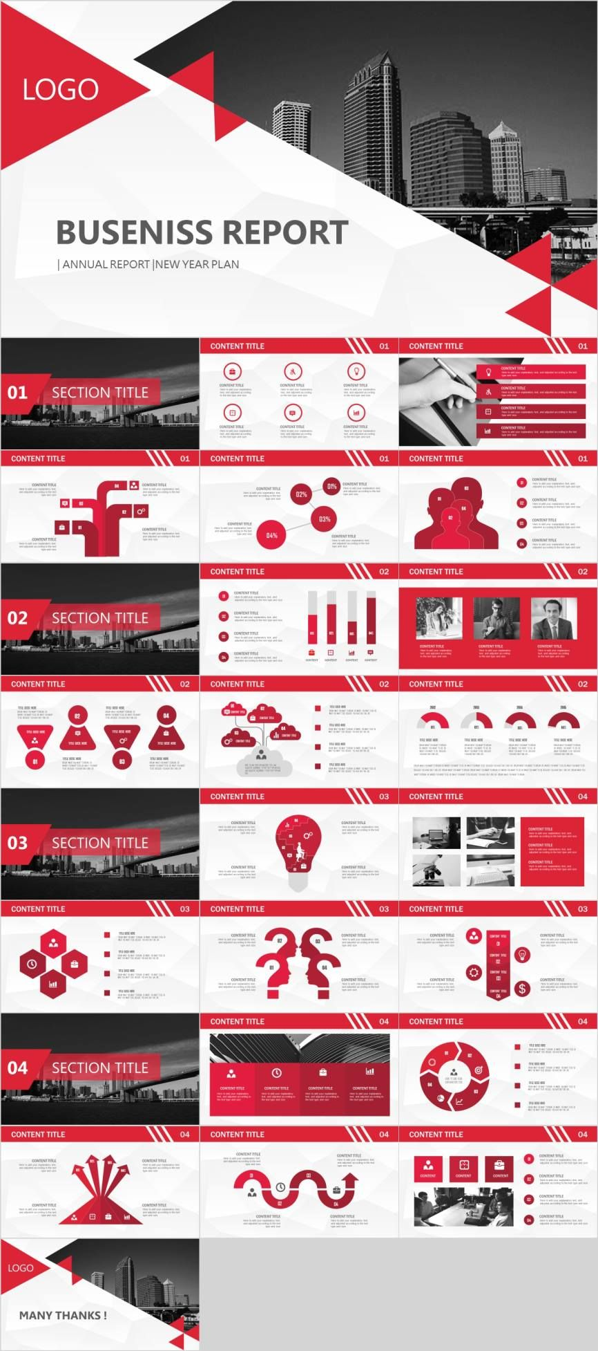 Red new year plan PowerPoint template