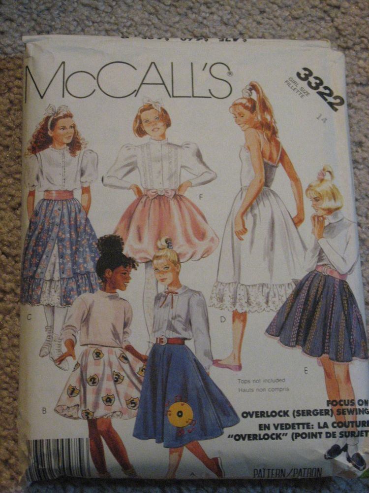 McCalls Pattern 3322 Girls Poodle Skirt W Petticoat SZ 14