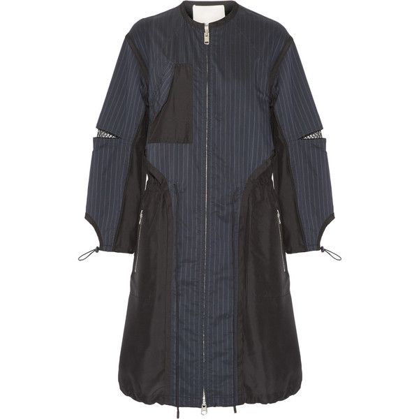 3.1 Phillip Lim - Pinstriped Shell And Silk Parka (1.145 BRL) ❤ liked on Polyvore featuring navy and 3.1 phillip lim