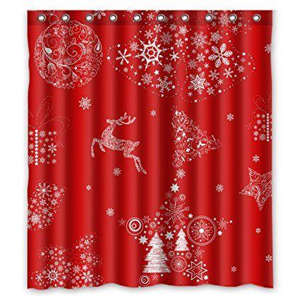 GCKG Xmas Merry Christmas Reindeer Red Shower Curtain 66 X 72 Waterproof Polyester Fabric
