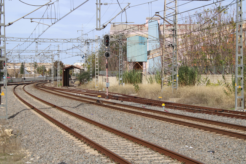 vías de la estación de Jerez de la Frontera, sentido a Sevilla