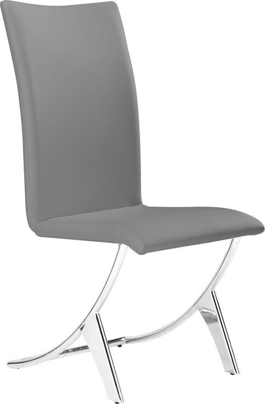 Zuo Modern 102106 Delfin Dining Chair Color Gray Chromed Steel Finish - Set of 2