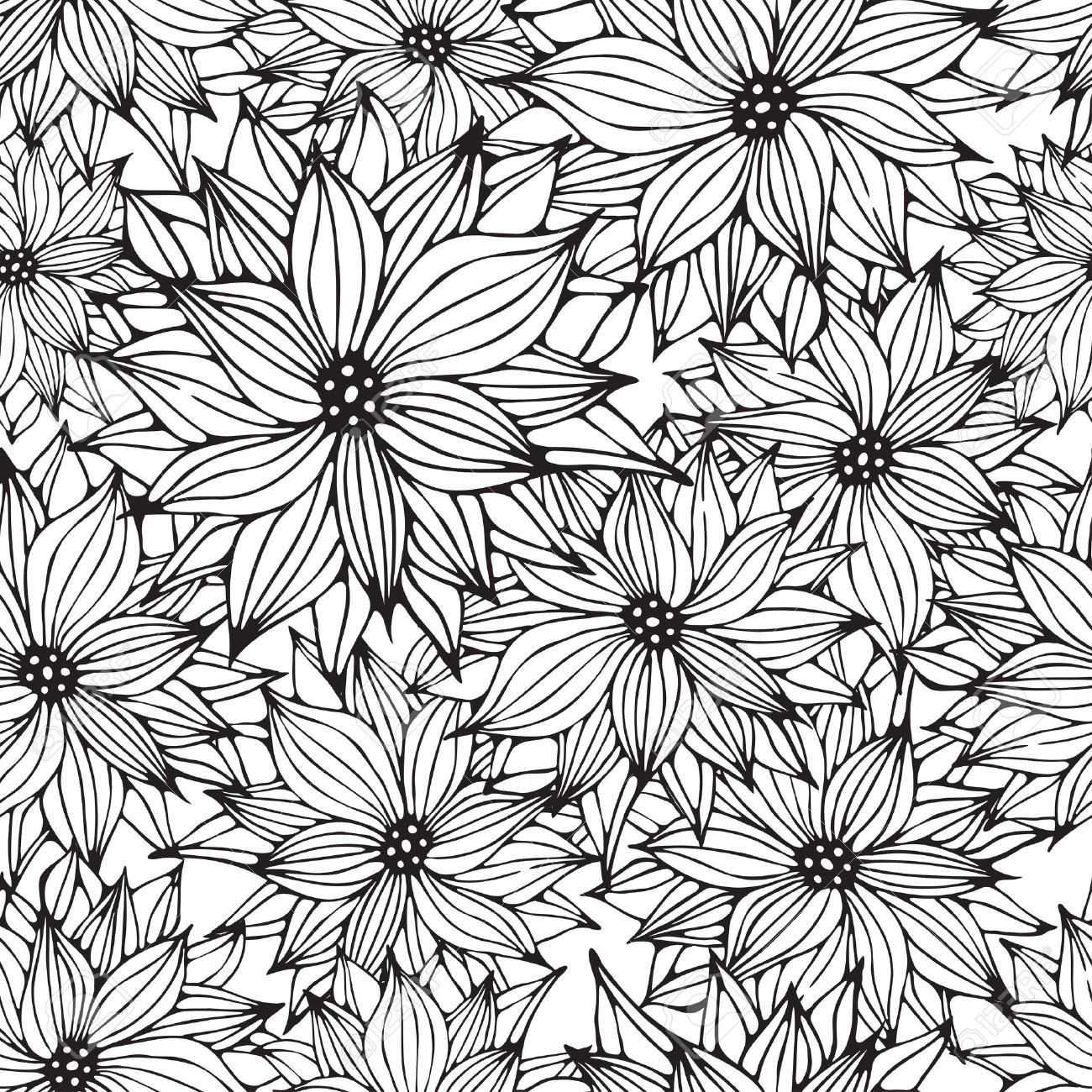 Line Drawing Flower Pattern : Seamless floral white black background flower hand drawn