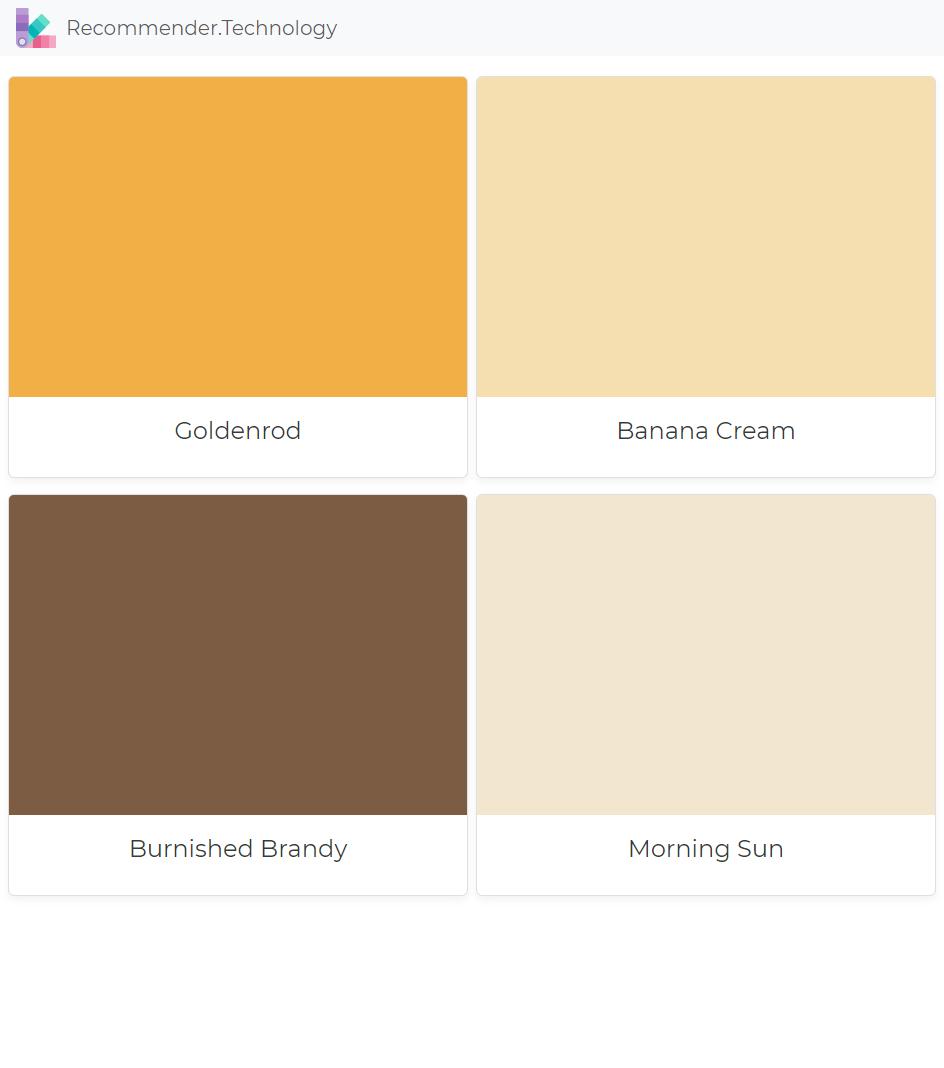 Goldenrod Banana Cream Burnished Brandy Morning Sun