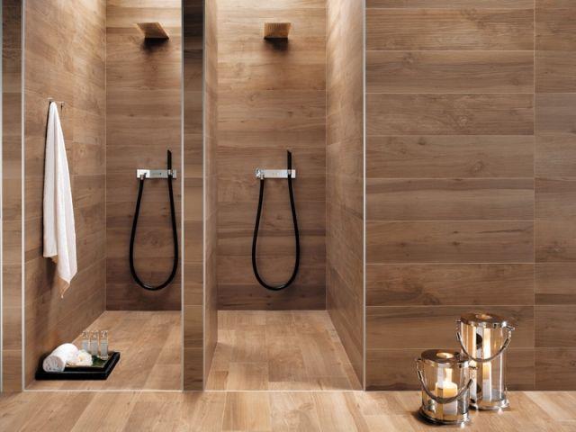Schön Badideen Fliesen Holzoptik Warmer Holzton Duschen
