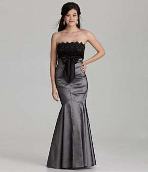 Blondie Nites Strapless Lace Taffeta Gown | Dillard's Mobile