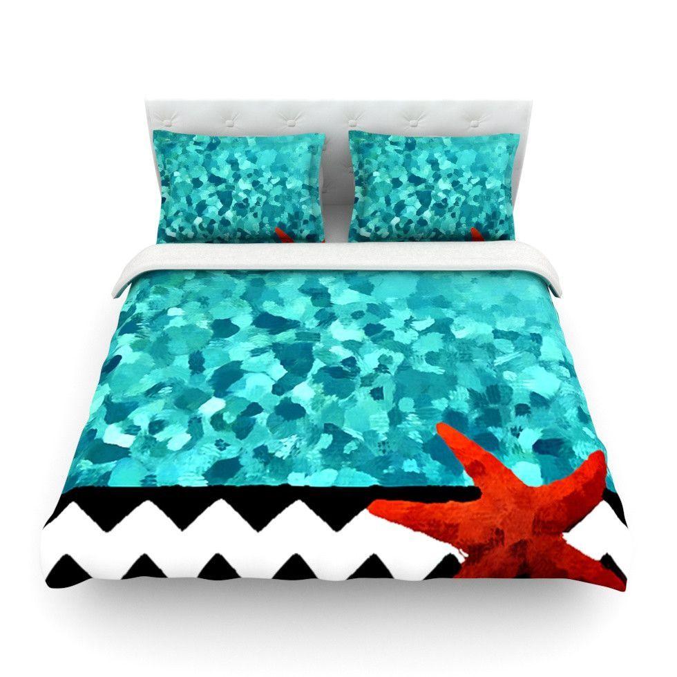 """Oriana Cordero """"Turquoise Ocean"""" Blue Aqua Queen Cotton Duvet Cover - Outlet Item"""