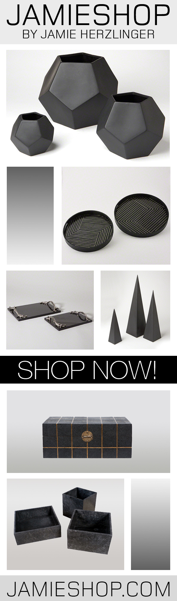 These black accessories would work with any black interior! Visit JAMIESHOP for the latest in accessories, furnishings and home decor! SHOP NOW! #accessories #furnishings #decor #design