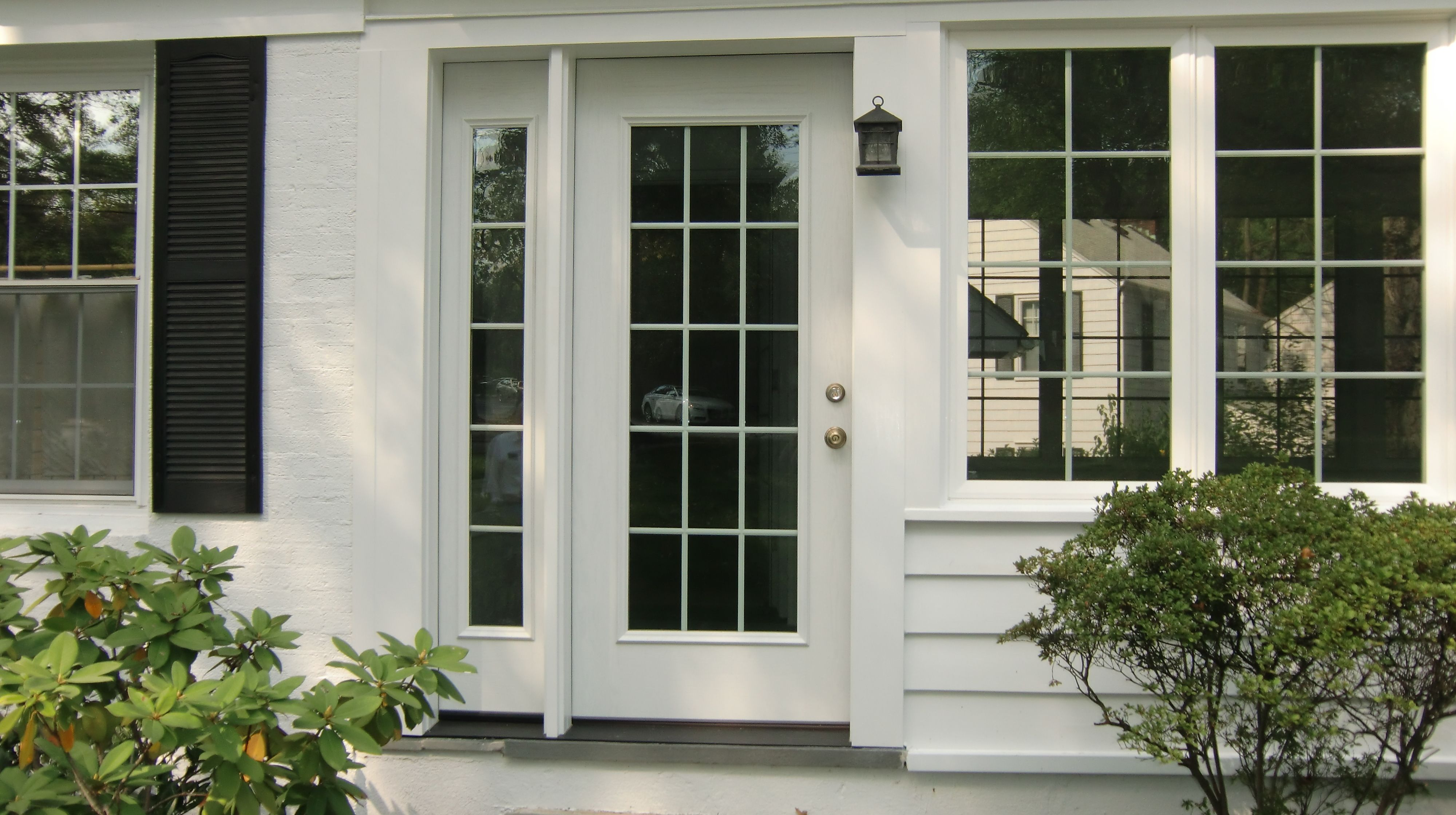 provia entry door with a single full length sidelite chatham nj