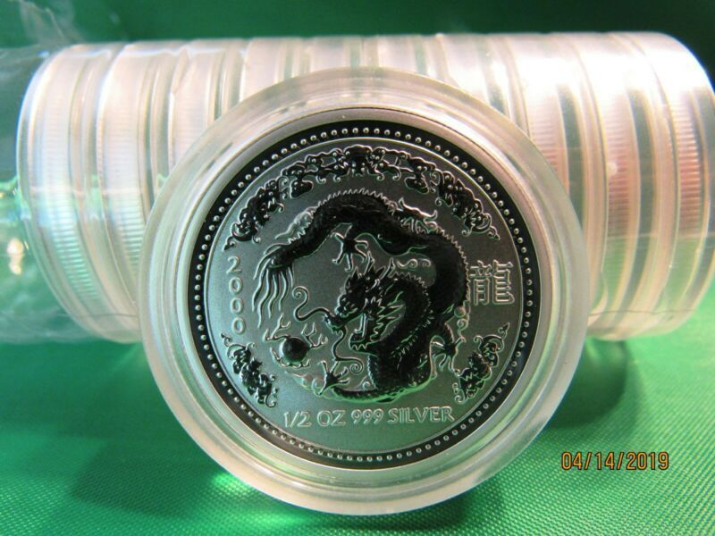 Bullion 2000 Australian Lunar Year Of The Dragon 1 2 Oz Silver Coin Bu Series Lunar Year Year Of The Dragon Silver Coins
