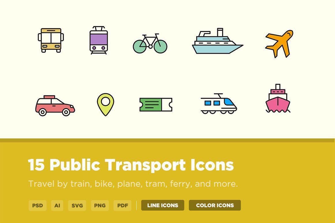 15 Public Transport Icons Public Transport Train Illustration Transportation