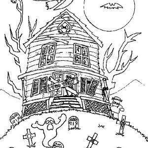 Haunted House With Witch And Bad Spirit Coloring Page