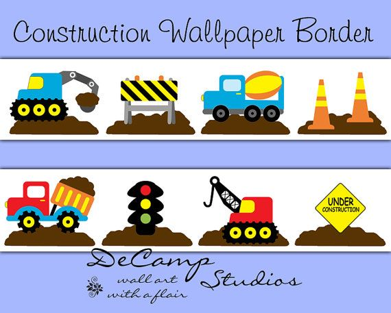 Construction dump truck wallpaper border decal boy nursery stickers kids vehicle room childrens bedroom wall art street road work sign decor