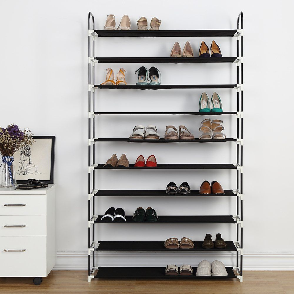 10 Tier Shoe Rack 50 Pairs Plastic Shoe Shelf Stand Organizer With Nonwoven Fabric Blac Bedroom Organization Storage Shoe Rack Shoe Storage Solutions