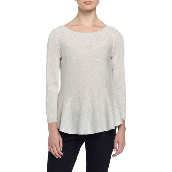 Philosophy Cashmere 34 Sleeve Metallic Knit Peplum Sweater