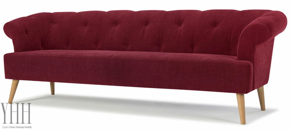 Retro, modern Mid Century Red Sofa With Oak Legs (With