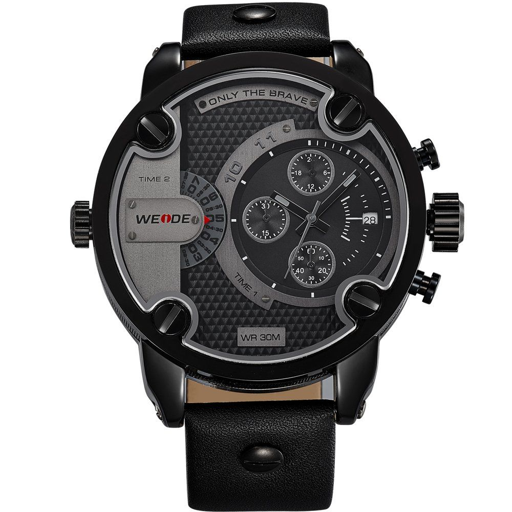Amazon.co.jp: ウォッチ メンズ腕時計 アナログ クオーツ 革バンド  クロノグラフ ファッション 防水 (ブラックケース): 腕時計通販