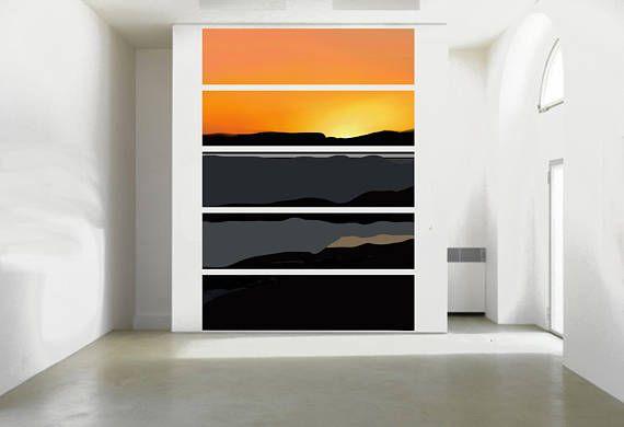 Wood Art Wall Decor Commercial Colorful Seascape Sun Ocean Panel