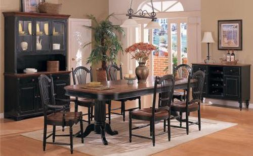 Cottage Double Pedestal Dining Table Cherry U0026 Ebony Finish With Sheaf Back  Chairs   Kellyu0027s Furniture In Kirksville, MO   By Winners Only