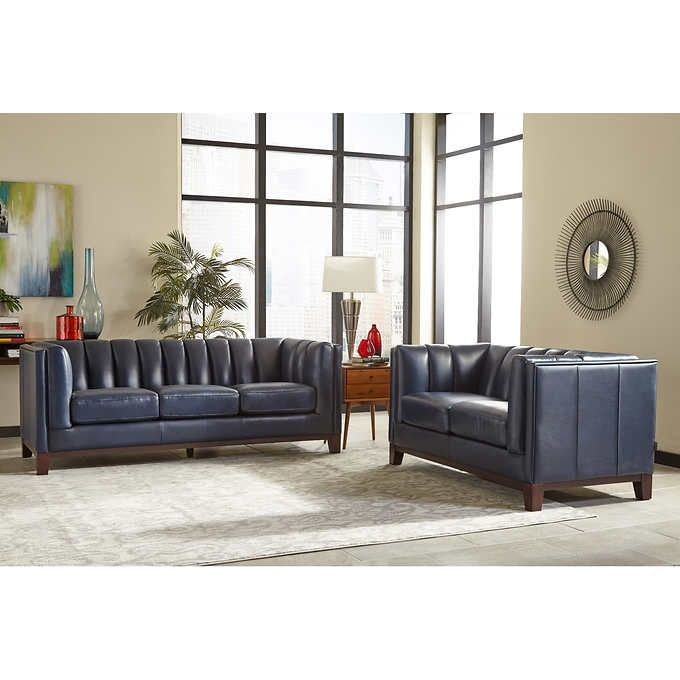 Villa Park 2 Piece Top Grain Leather Set Sofa Loveseat