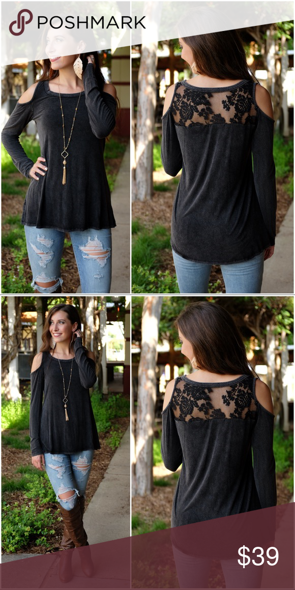 472594ec35e7a Charcoal Vintage Wash Cold Shoulder Lace Back Top Model wearing size small  APPROX MEASUREMENTS  94% RAYON 6% SPANDEX BUST  SMALL-17