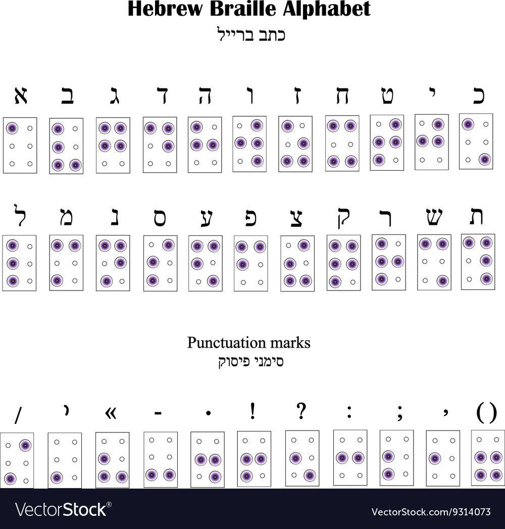 Hebrew Alphabet Braille The Font For Blind People Vector Image On Vectorstock Hebrew Alphabet Braille Alphabet