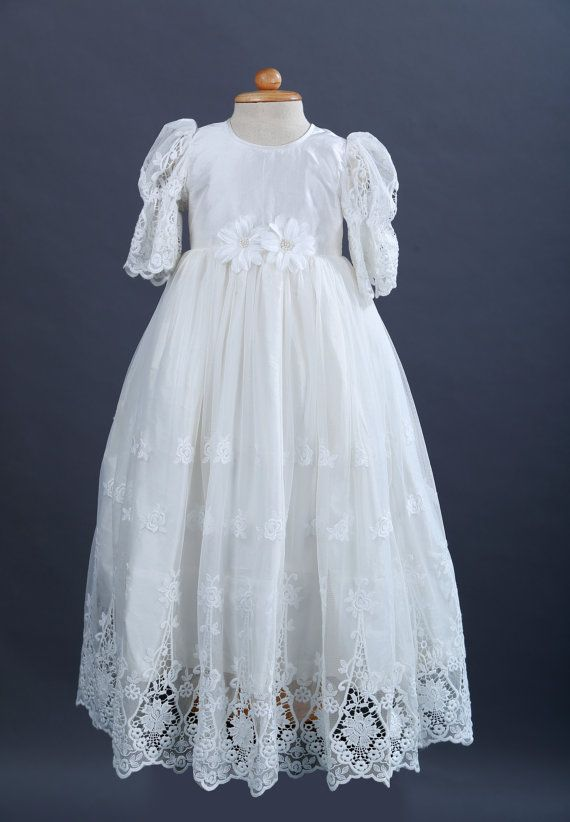 13f3e73d41e8 Bridal Lace Baptism Dress, Christening Gown, Dedication, Silk Christening, Heirloom  Christening, Communions - Silk and Lace Gown