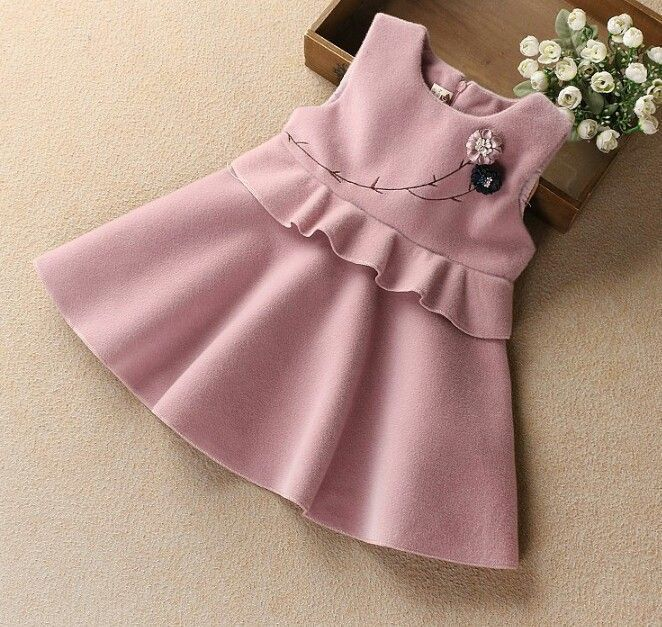 Toddler Kids Girl Outfits Party Casual Dress Palid Dresses Coat Winter Outwear