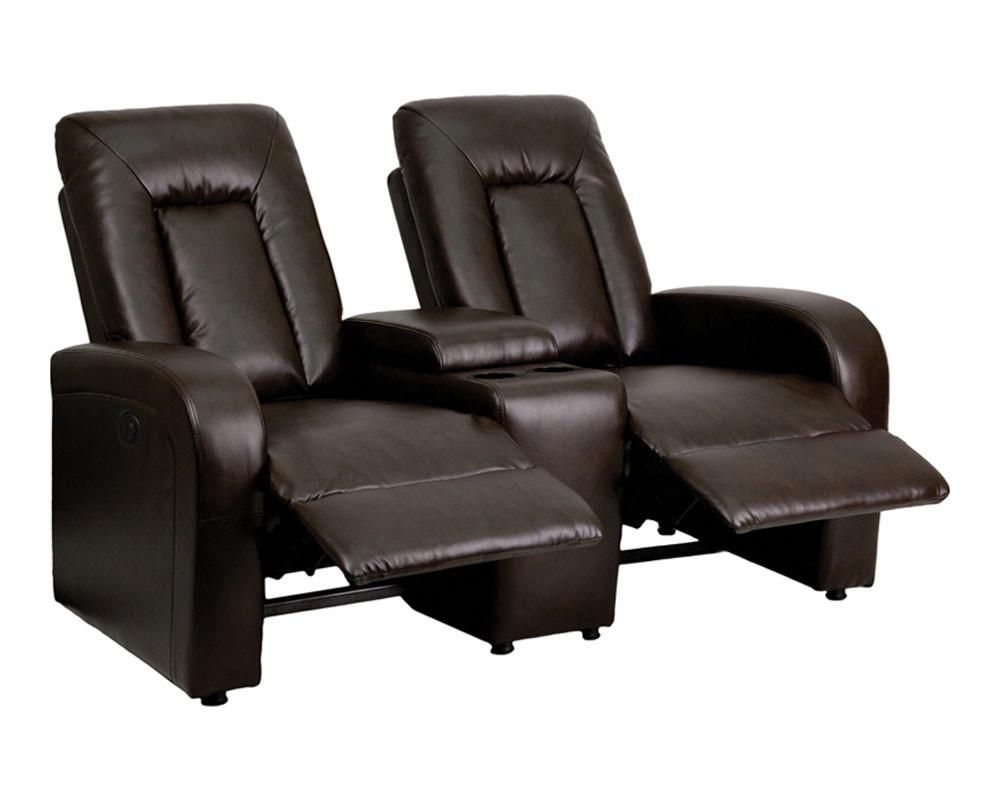 Flash Furniture Eclipse Series 2 Seat Power Reclining Brown Leather