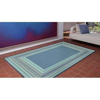 "Beachcrest Home Roselawn Etched Blue Indoor/Outdoor Area Rug Rug Size: Runner 1'11"" x 7'6"""